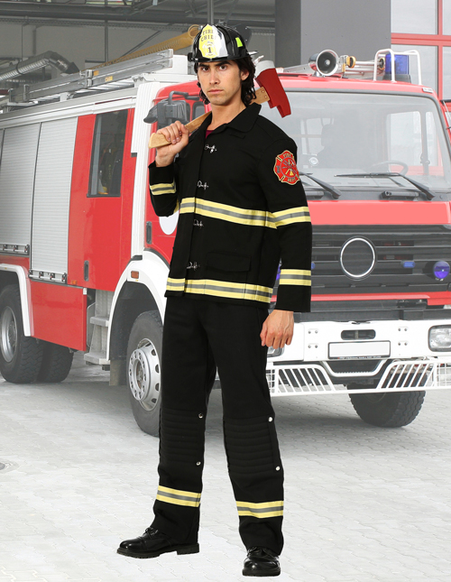 Men's Black Fireman Costume