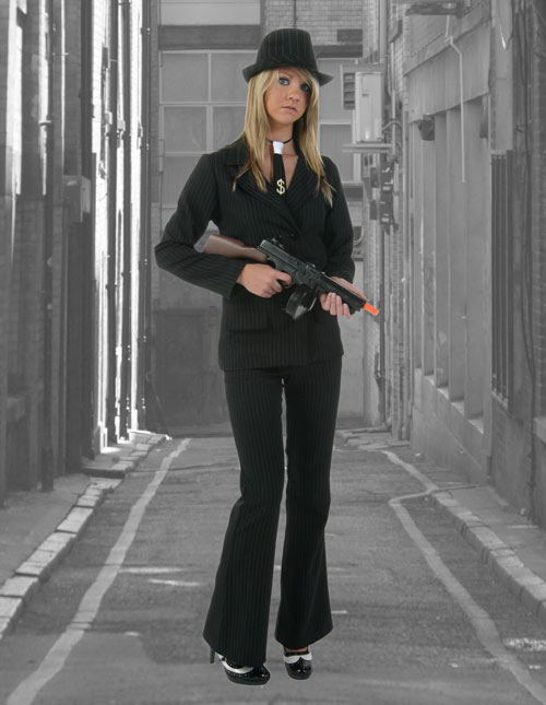 Women's Black Gangster Suit