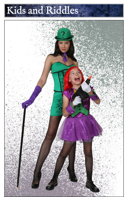 Child Girls Joker and Womens Riddler Costume Duo  sc 1 st  Halloween Costumes & Adults Kids Joker Costumes