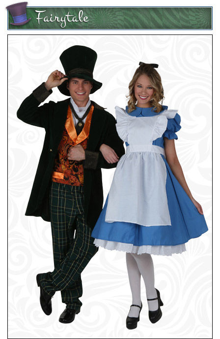 Storybook Mad Hatter and Alice Couples Costume