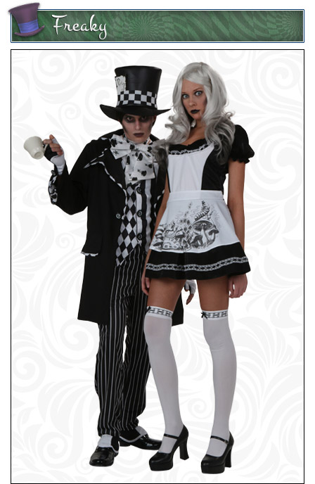 Dark Mad Hatter and Alice Couples Costume