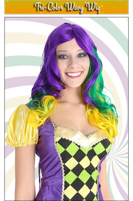 Tri-Color Wavy Mardi Gras Wig