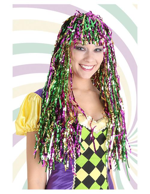 Mardi Gras Tinsel Wig