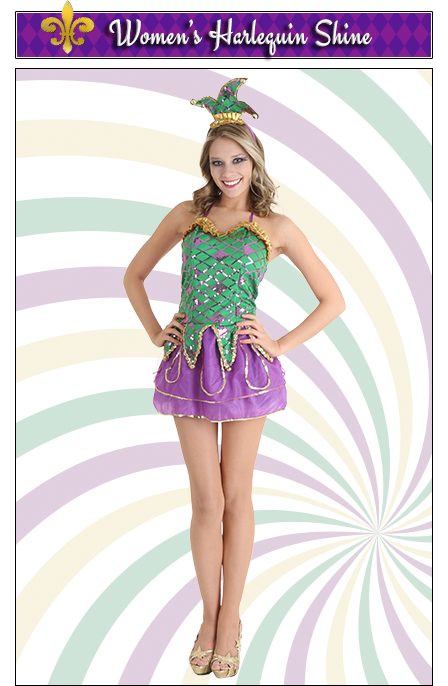 Women's Harlequin Shine Costume