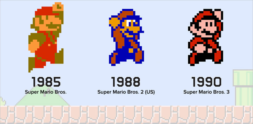 1985 Super Mario Bros – 1988 Super Mario Bros. 2 – 1990 Super Mario Bros. 3