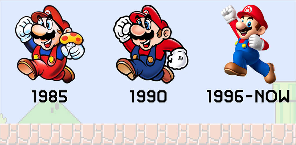 mario from 1985 1990 and 1996 now
