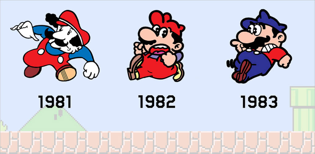 Evolution of Mario from 1981, 1982 and 1983