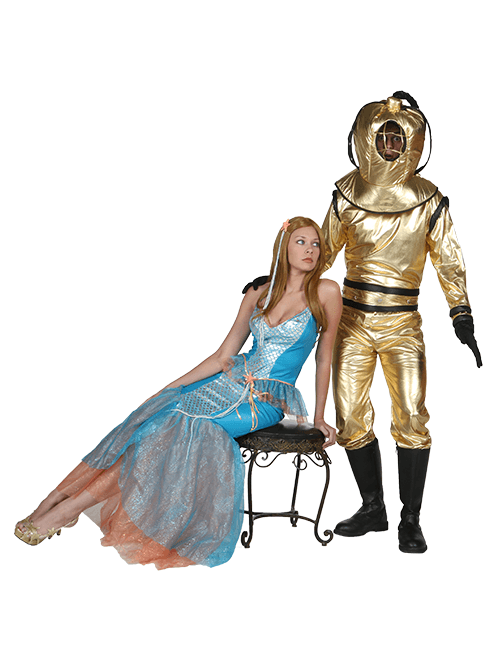 Mermaid and Diver Couple Costumes