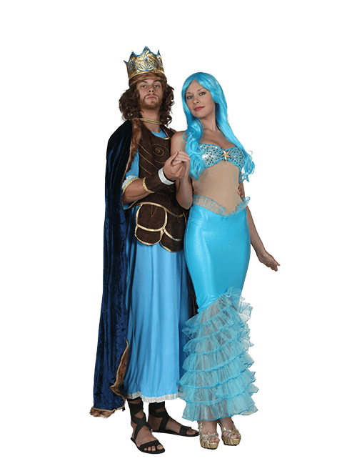 Mermaid and Sea King Couple Costumes