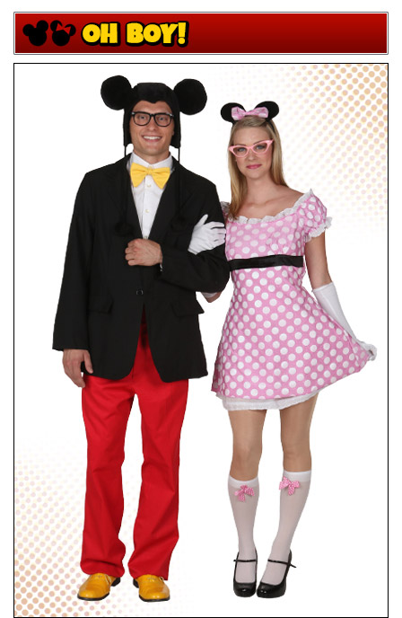 Hipster Mickey and Minnie Mouse Couples Costume