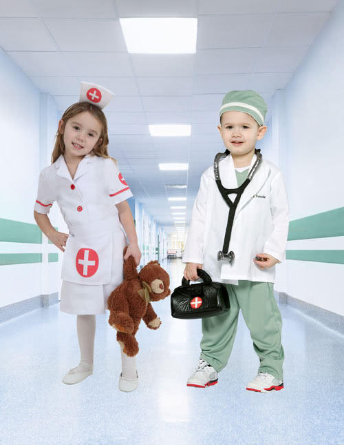 Surgeon Costume and Toddler Nurse