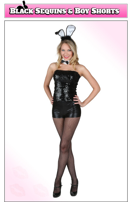 Playboy Bunny Costume with Black Sequins, Boy Shorts