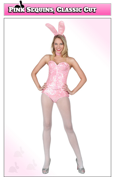 Playboy Bunny Costume with Pink Sequins, Classic Cut