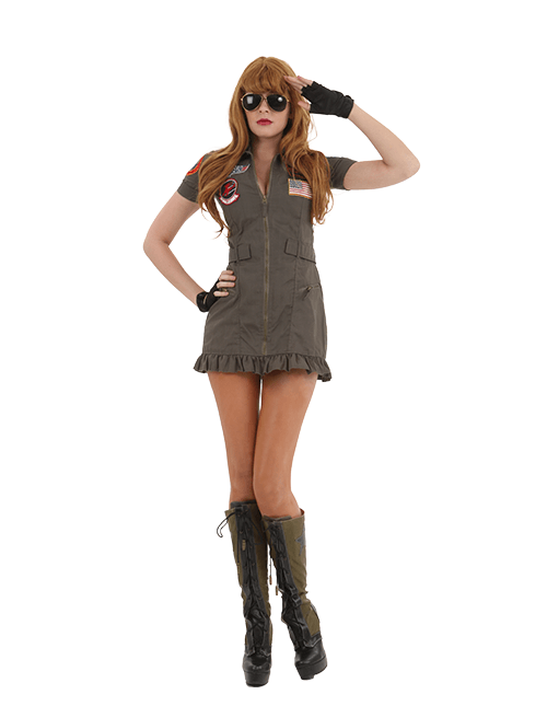 Sexy Top Gun Flight Dress Costume