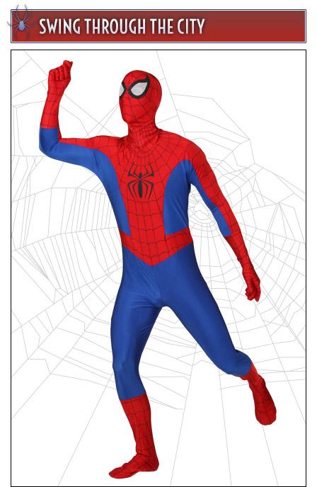 Spider-Man Pose Swinging Through the City