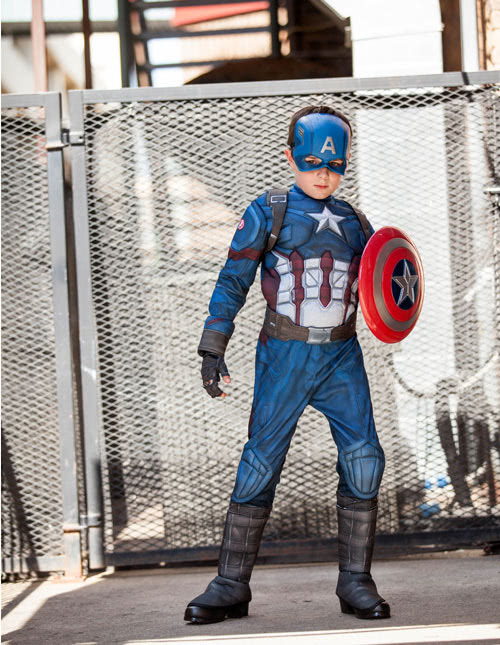 Love his look in a Captain America Costume