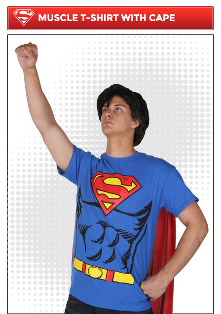Superman Muscle Costume T-Shirt with Cape