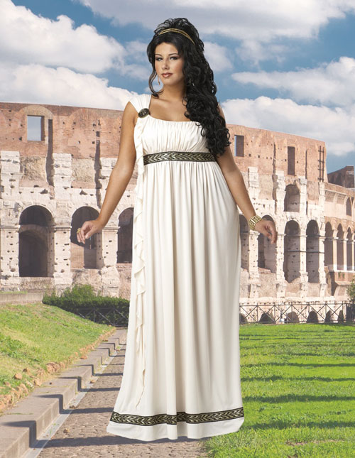 Plus Size White Grecian Dress