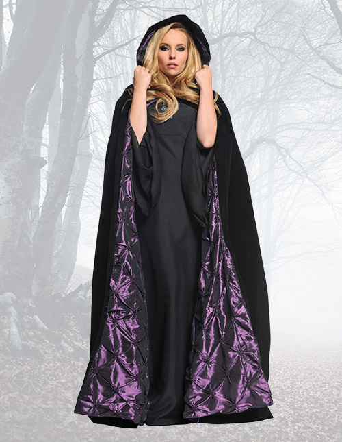Deluxe Velvet Cape with Purple Satin Lining