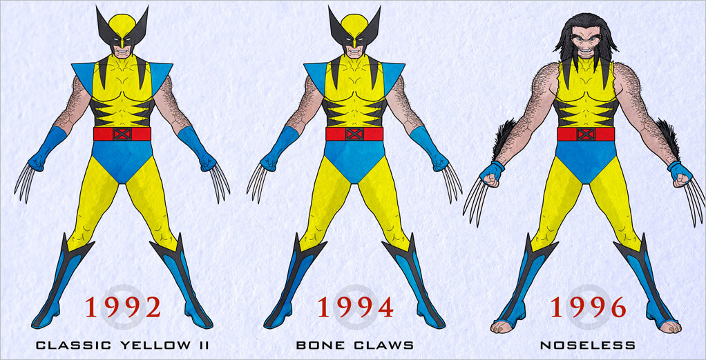 Boldy returning in X,Men 5 in 1992, Wolvie\u0027s classic yellow suit featured  only minor changes from his original yellow costume. This enduring look  would