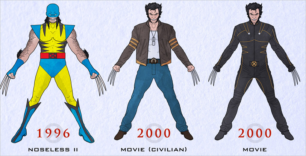 Noseless Wolvie was still tearing it up in 1996 but they added a bandana mask to cover up his lack of a nasal appendage. He would soon revert back to his ...  sc 1 st  Halloween Costumes & X-Men Costumes for Halloween