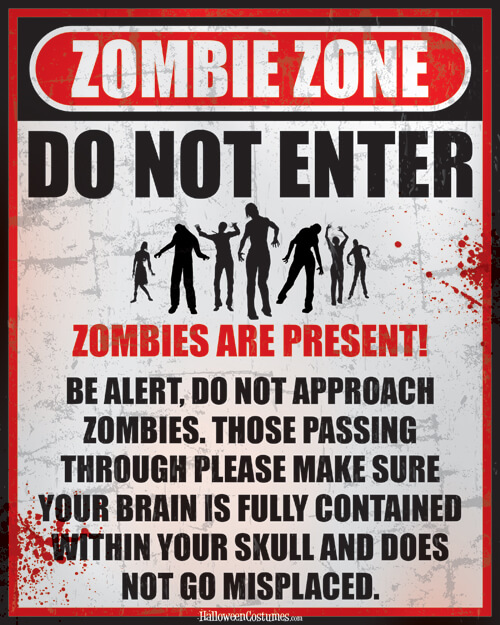 Zombie Zone Printable