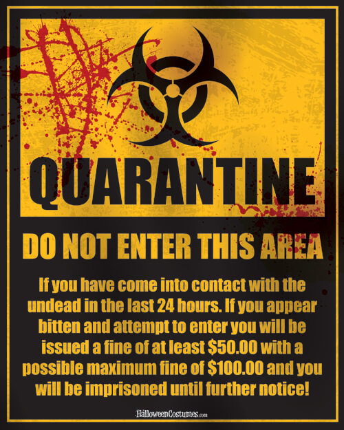 image about Quarantine Sign Printable titled Zombie Costumes Going for walks Lifeless Costumes -