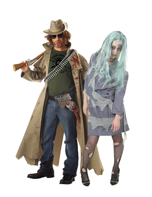 Zombie and Zombie Hunter Couples Costumes