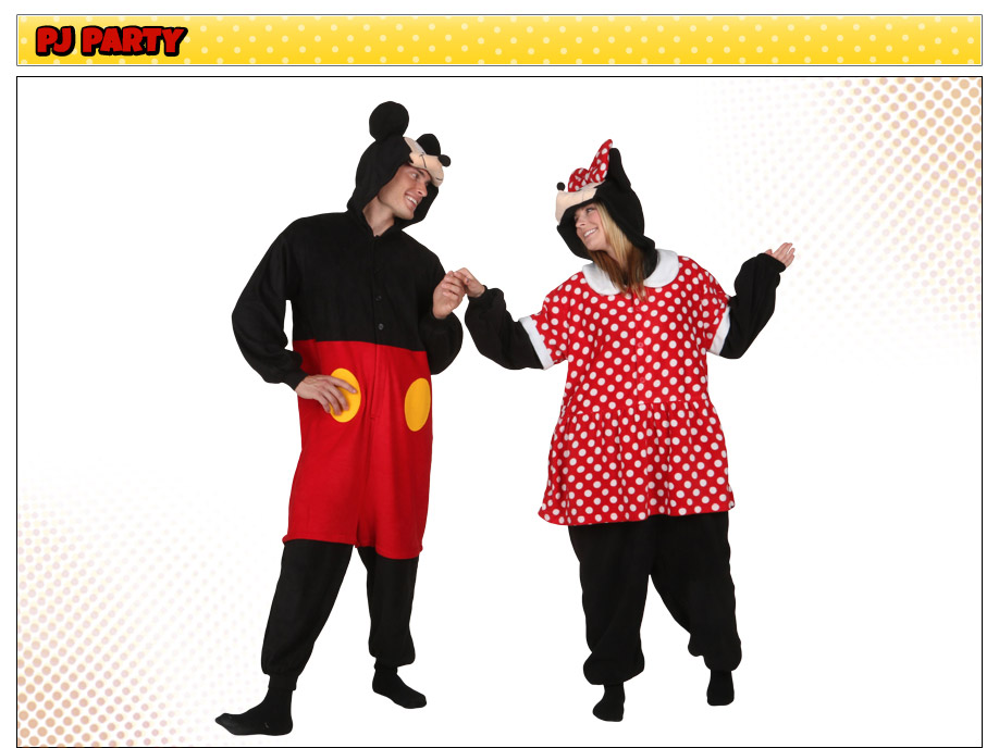 Minnie Mouse and Mickey Mouse Pajama Costumes