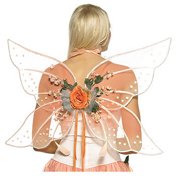 Add these elegant wings for a unique fairy costume. The mango-colored wings ...