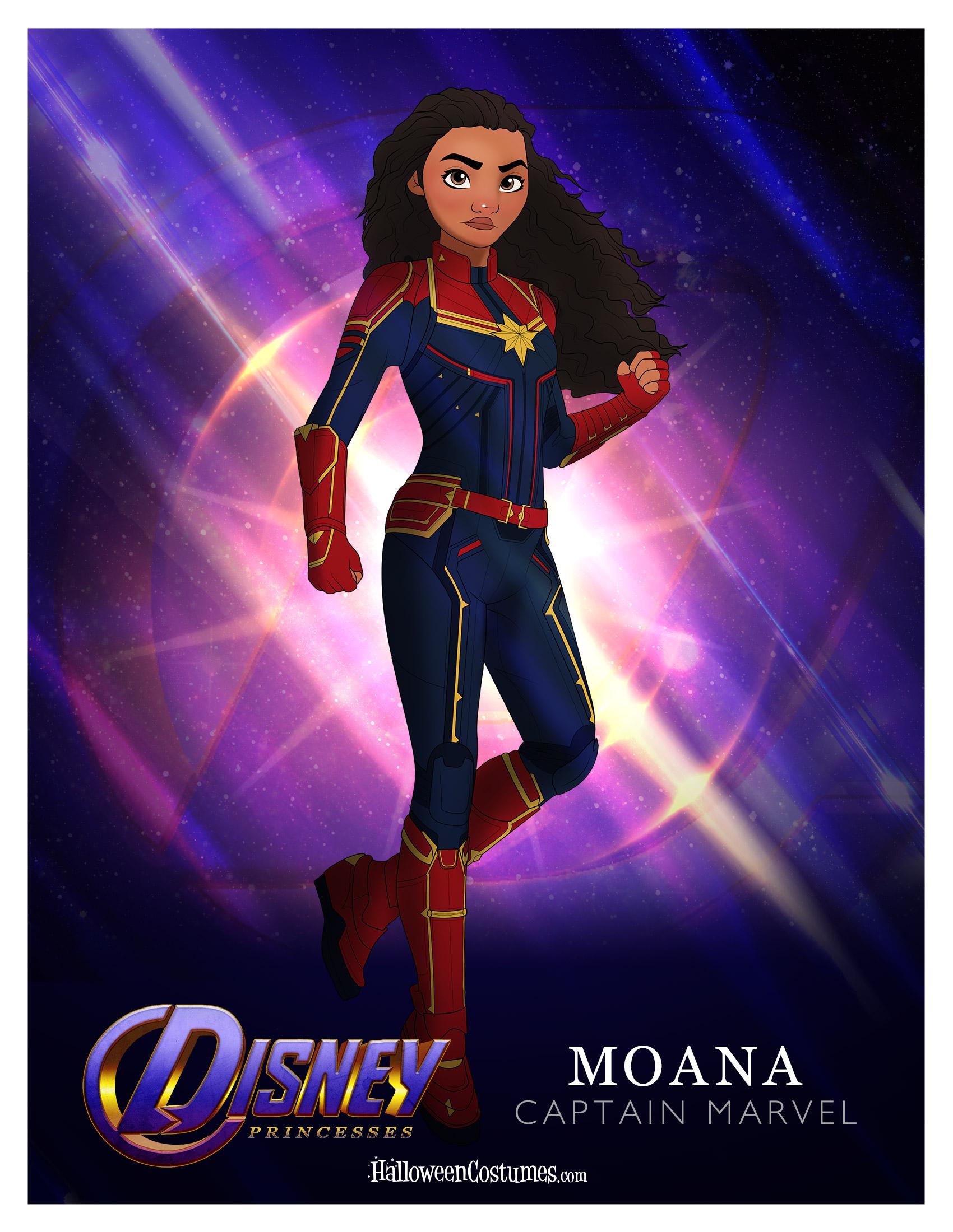 Princess Moana as Captain Marvel