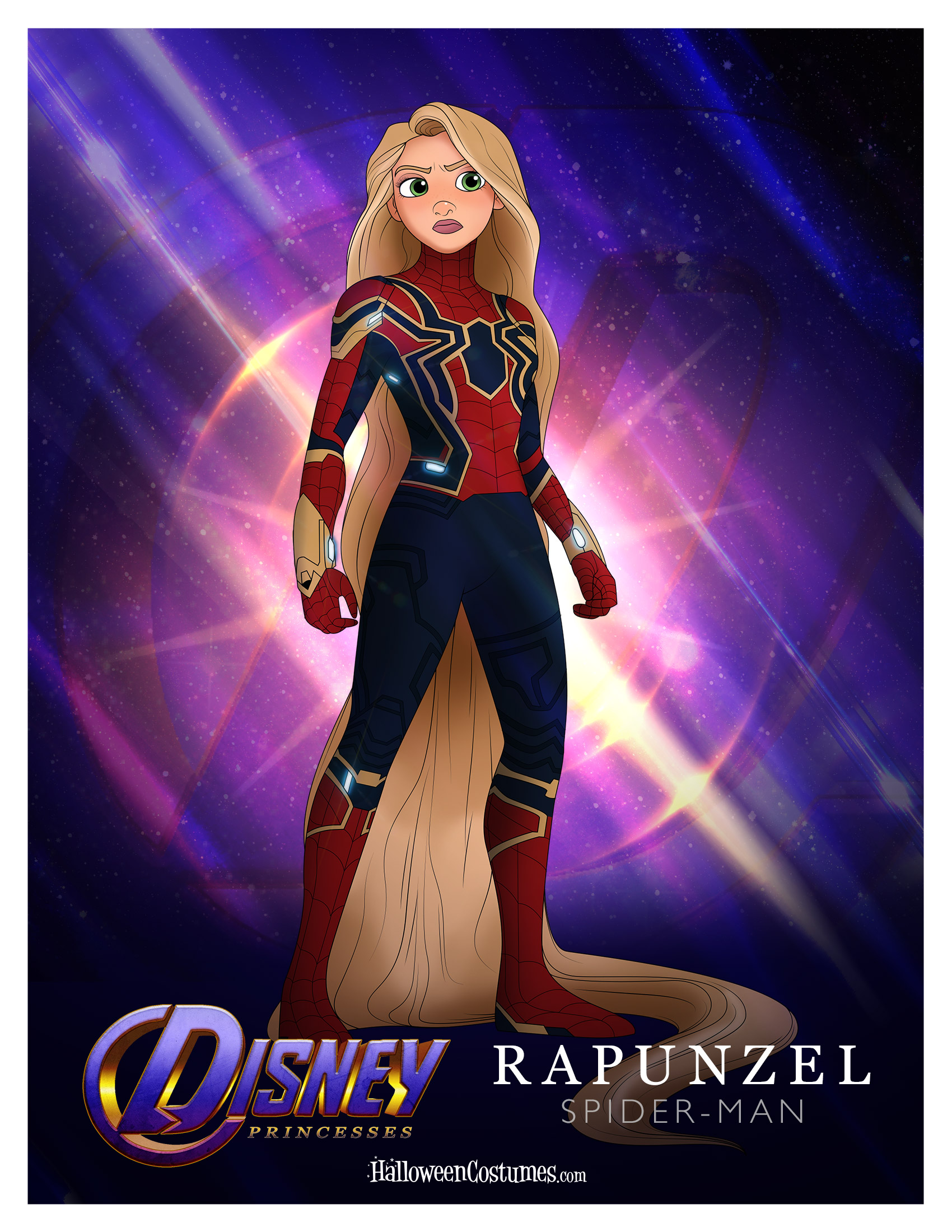Princess Rapunzel as Spider-Man