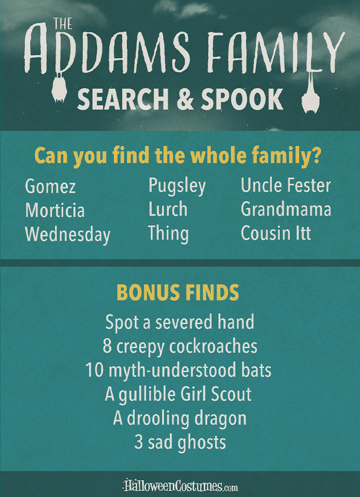 People and Objects to Find in The Addams Family Search & Spook