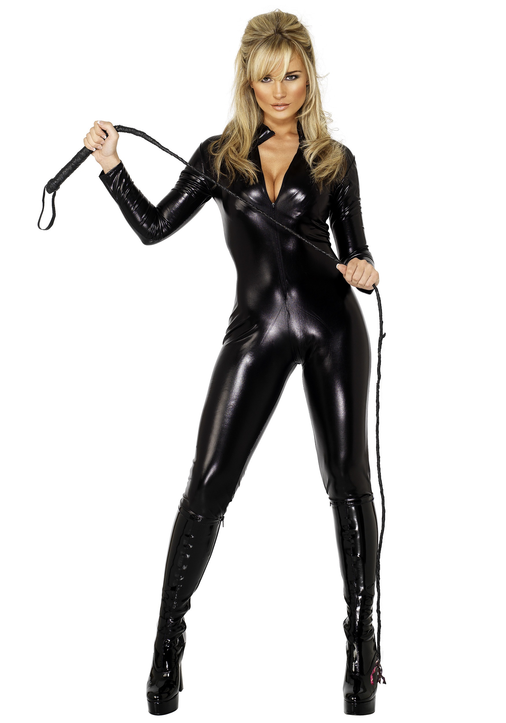 black zipper catsuit sexy costumes 3999 whiplash honey costume