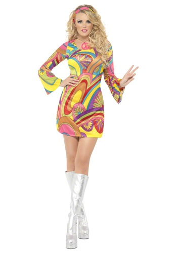 Click Here to buy 60s Sexy Flower Power Costume from HalloweenCostumes, USA Funds & Shipping
