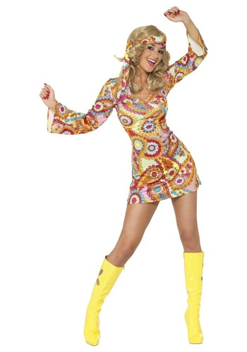 Click Here to buy 1960s Paisley Hippie Costume from HalloweenCostumes, USA Funds & Shipping