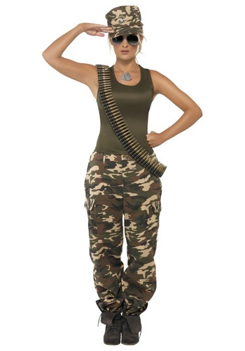 Click Here to buy Female Khaki Camo Costume from HalloweenCostumes, USA Funds & Shipping