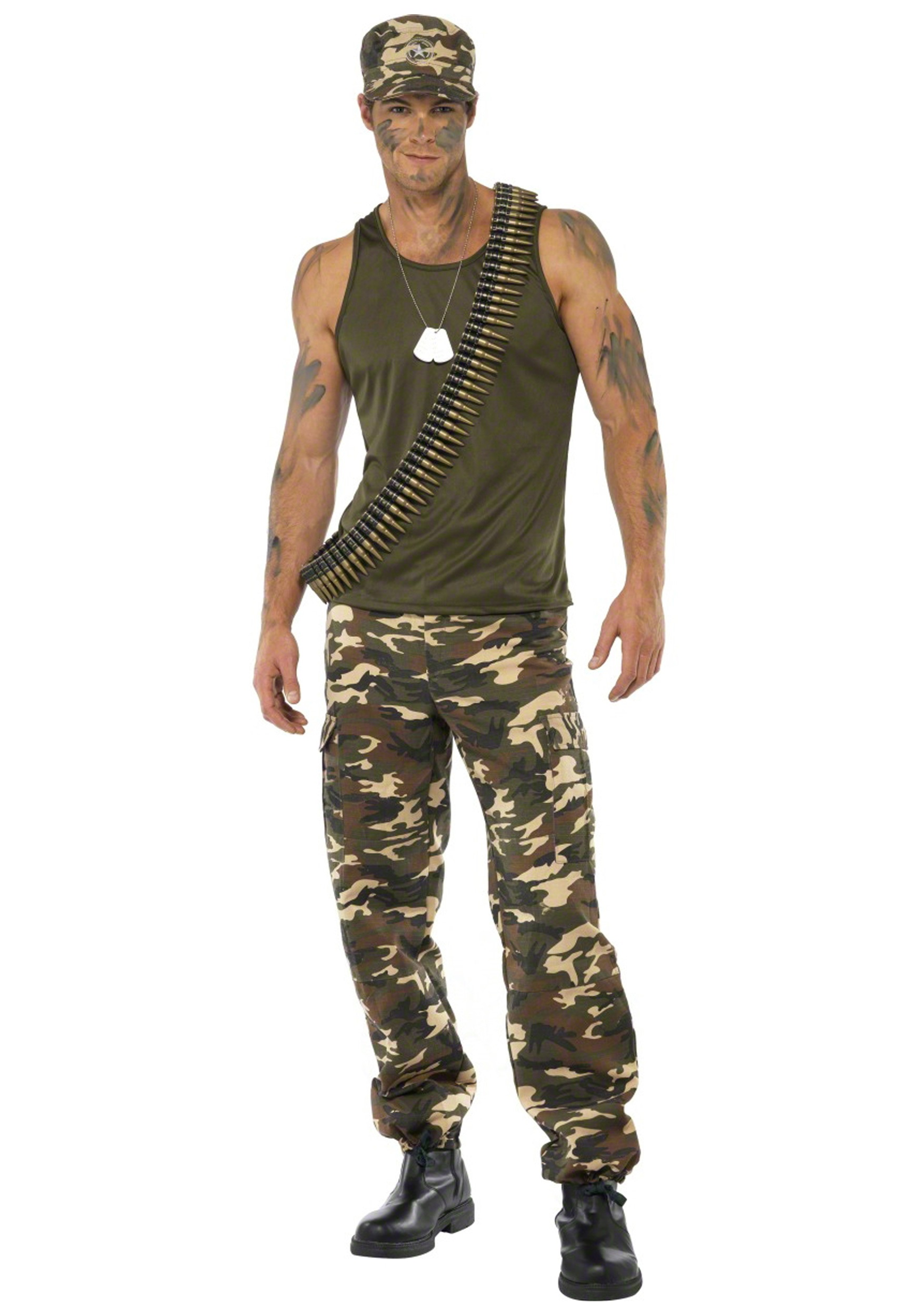 male khaki camo costume - Halloween Army Costume