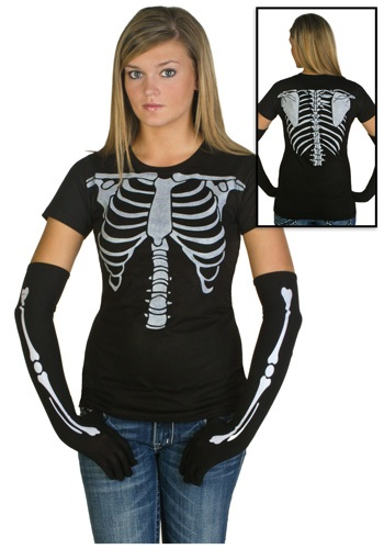 [Womens Skeleton Costume T-Shirt] (Womens Skeleton Costumes Tshirt)