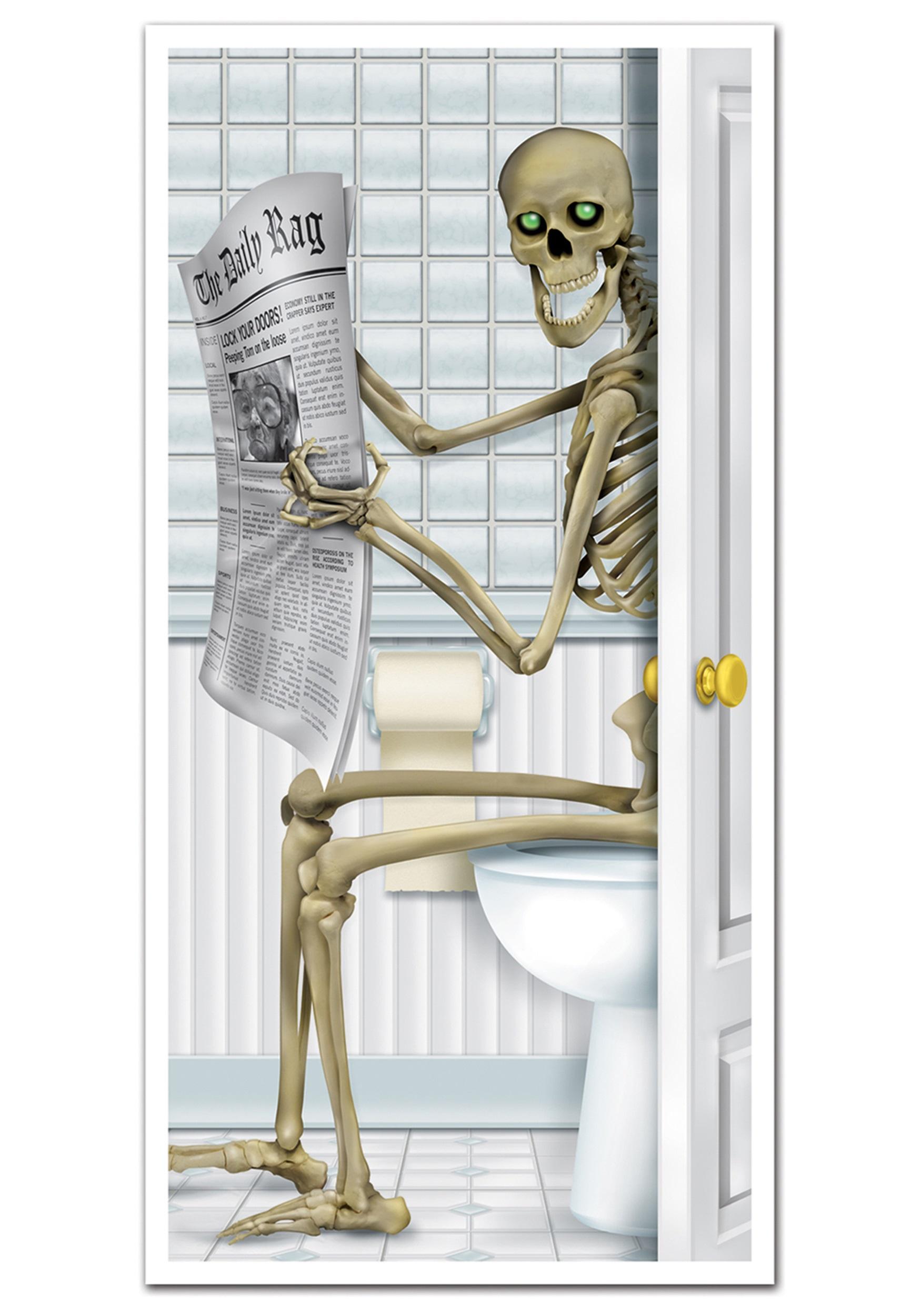 sc 1 st  Halloween Costumes & Skeleton Restroom Door Cover