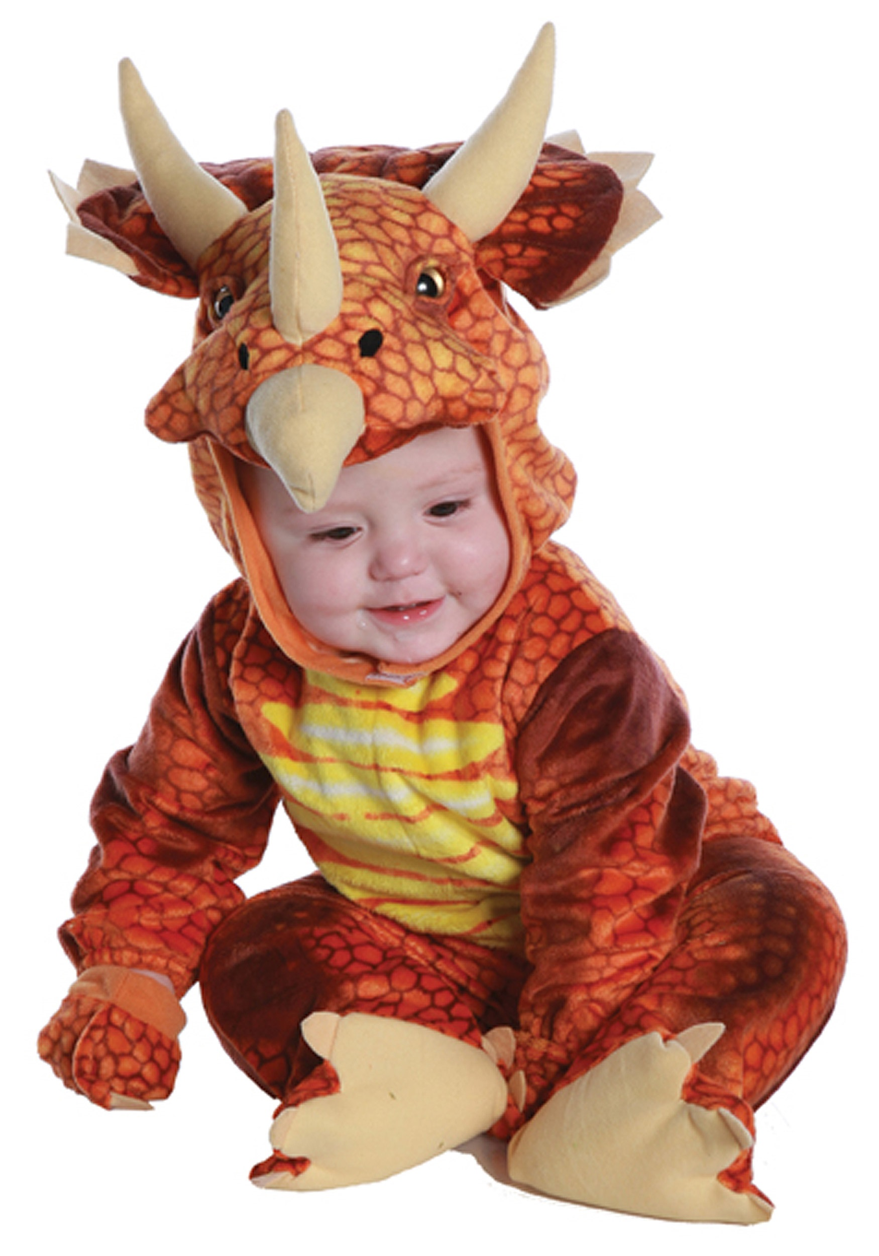 Dinosaur costumes kids toddler dinosaur halloween costume infanttoddler rust triceratops costume solutioingenieria Choice Image