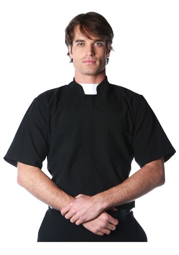 Click Here to buy Plus Size Priest Shirt from HalloweenCostumes, USA Funds & Shipping