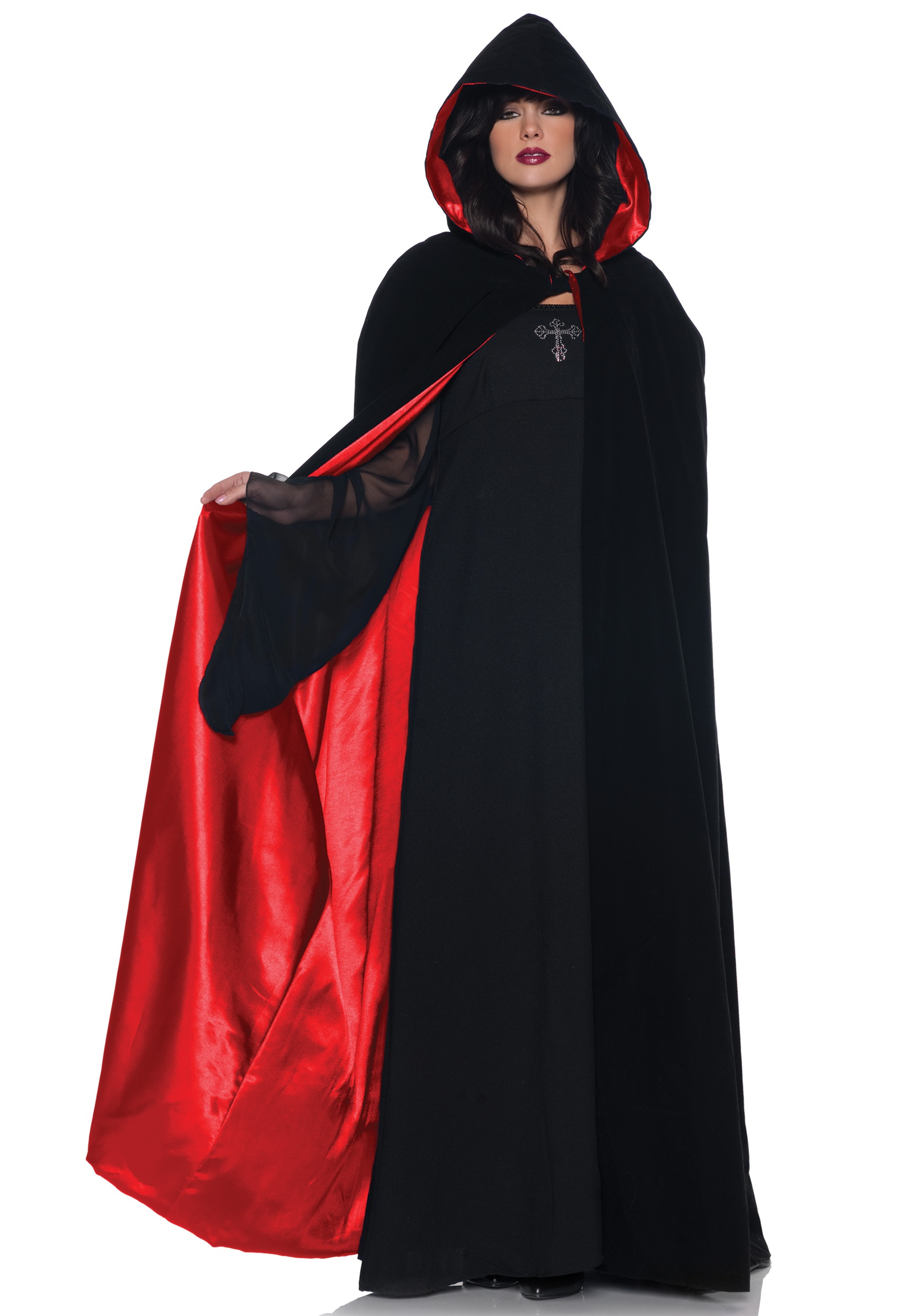 deluxe velvet cape w red satin lining