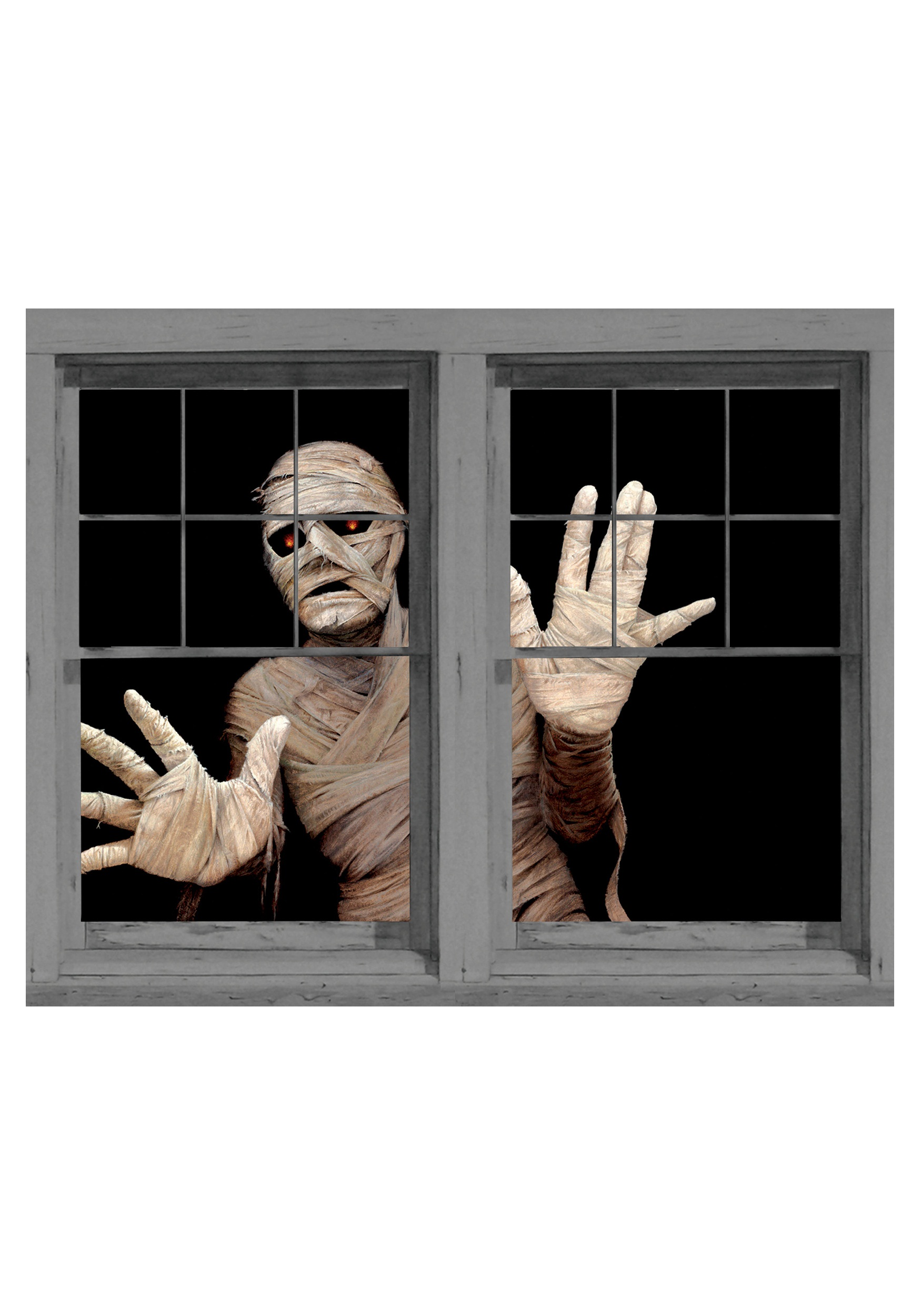 menacing mummy double window cling - Halloween Window Clings