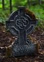 Mossy Celtic Cross Tombstone - Graveyard Halloween Decorations