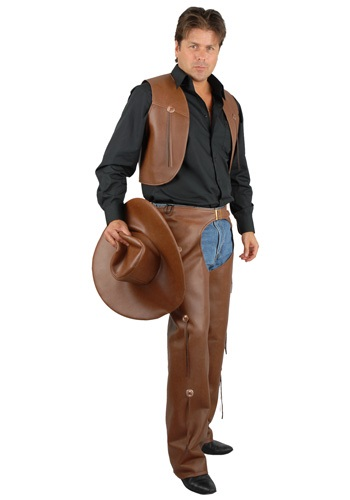 Men's Brown Chaps and Vest By: Charades for the 2015 Costume season.