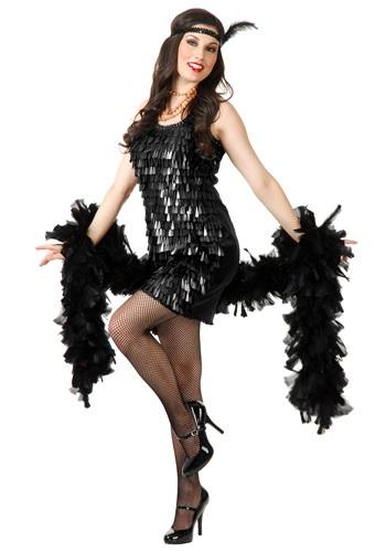 Black Tear Drop Flapper Costume for Women