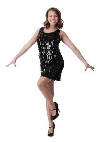 Black Tear Drop Flapper Costume for Women