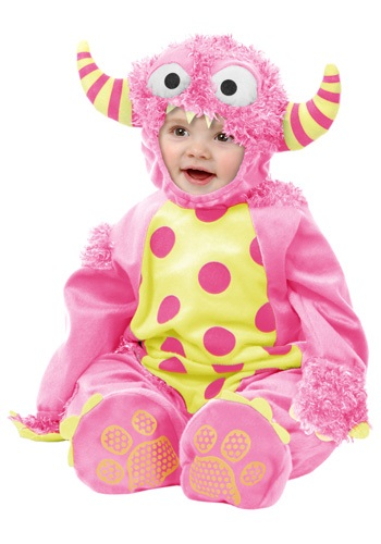 Infant Pink Mini Monster Costume - Baby Furry Monster Jumpsuits