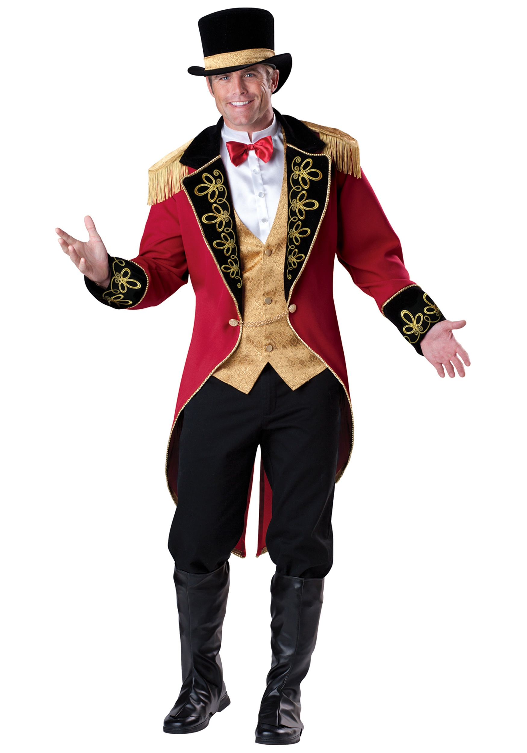 ADULT RINGMASTER COSTUME Coat Vest Dickey w/ attached bow tie Top hat Boot covers